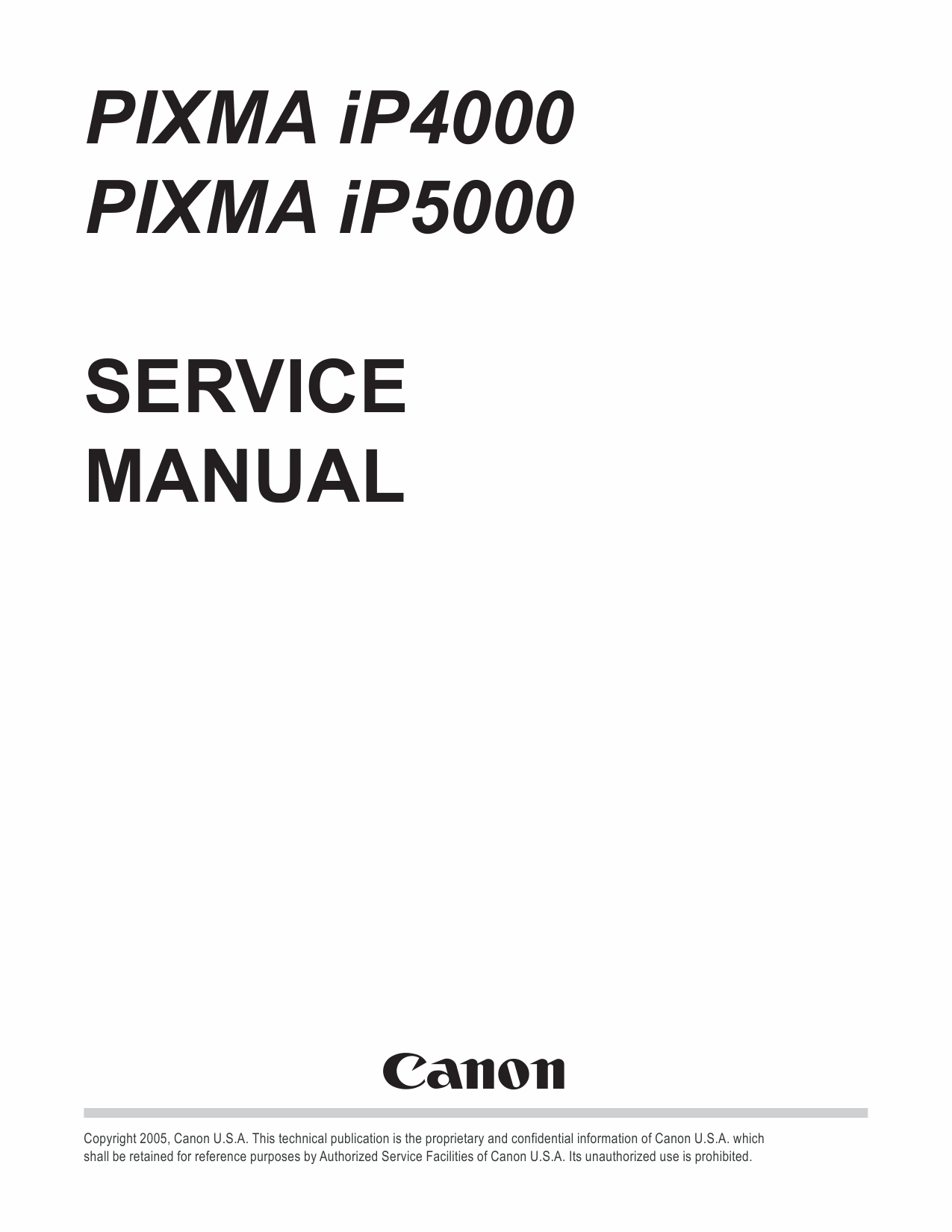 Canon PIXMA iP5000 Service Manual